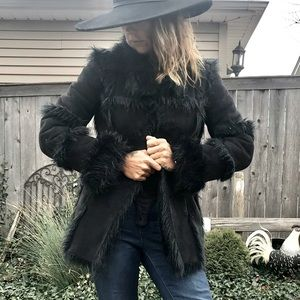 Bebe boho faux suede and fur black coat warm